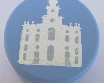 Hand Painted Love Boxes Blue CUSTOM St. George Bountiful Salt Lake Temple Box Wood