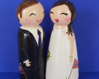 Hand Painted Love Boxes Custom Wedding Bride Groom Cake Go Gators Florida State Topper Doll Wood