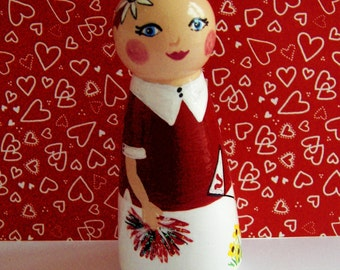 Hand Painted Love Boxes Aumberlee Cancer Fighter custom Peg Doll Wood