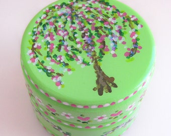 Hand Painted Love Boxes Weeping Cherry Tree Spring Box Wood