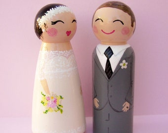 Hand Painted Love Boxes Custom Wedding Bride Groom Cake Topper Peg Doll Wood