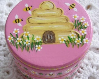 Hand Painted Love Boxes Pink Beehive Box Wood