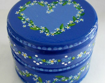 Hand Painted Love Boxes Forget Me Not  Box Wood Blue
