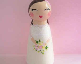 Hand Painted Love Boxes Custom Wedding Bride Baptism Confirmation Cake Topper Peg Doll Wood