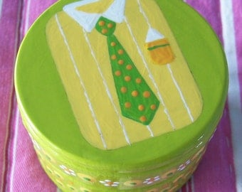 SALE Fathers Day Hand Painted Trinket Box Shirt and Tie Wood