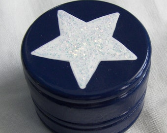 Hand Painted Love Boxes Blue Glitter Star Trinket Box Wood