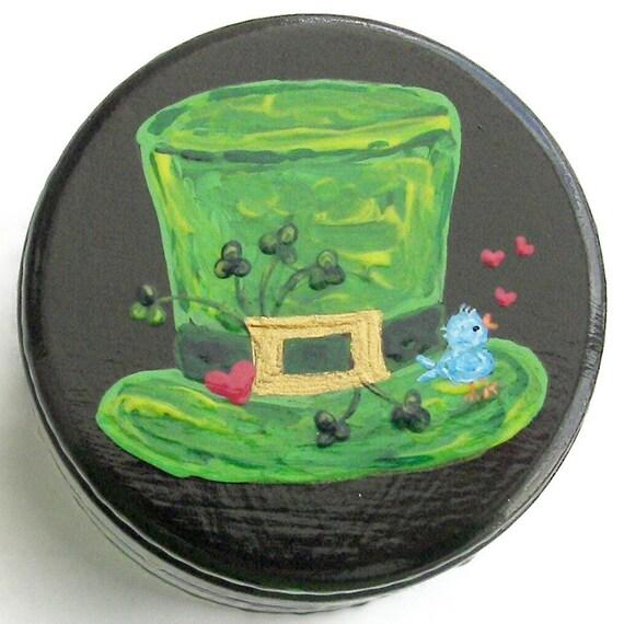 Hand Painted Love Boxes Irish Hat Bluebird Black Lacquer Box Wood