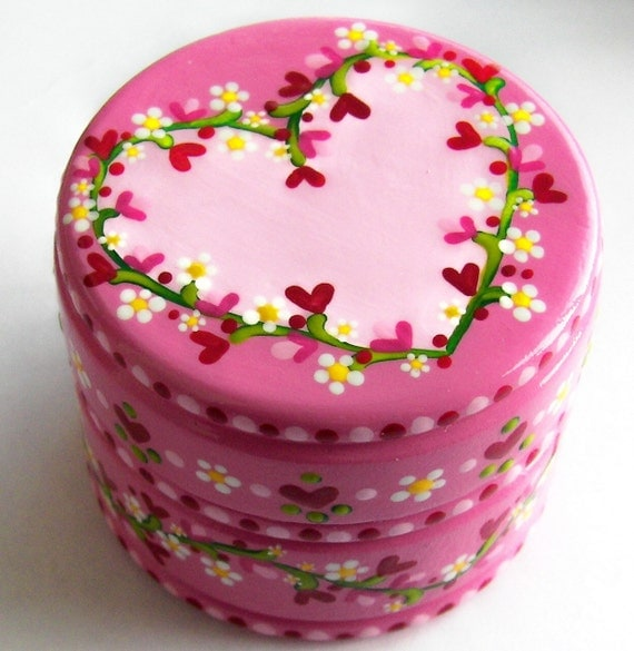 Hand Painted Love Boxes Hearts Flowers Valentine Box Wood