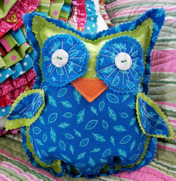 SALE Green Blue Bean Bag Toy Owl Pillow