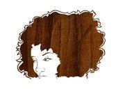 Athena Wood Portrait,  Art Print (Minimalist Natural Hair African American Illustration)