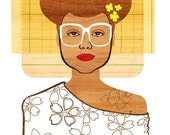 Yearbook Ellie Print, (1960s Inspired Hippie Bride Illustration, African American Glamour Portrait Art)