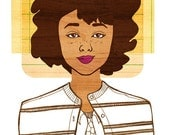 Yearbook Rosa Art, (Retro African American Portrait, Natural Hair Illustration Print)