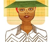 Yearbook Beverly Portrait, Art Print (Retro African American Women's Fashion School Illustration)
