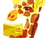 Tall Tales Giraffe Art (Children's Zoo Animal Illustration, Yellow Storybook Print) 5x7, 8x10, 11x14