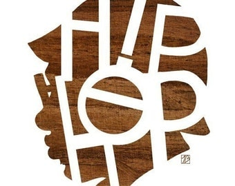 Hip Hop Head Print, (Music Poster, Rap Typography, Wood Silhouette Art)