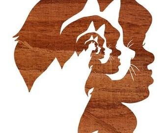 Cat Lady, Dark Brown Wood Silhouette Portrait Art Print, 5x7 8x10 11x14 Sizes