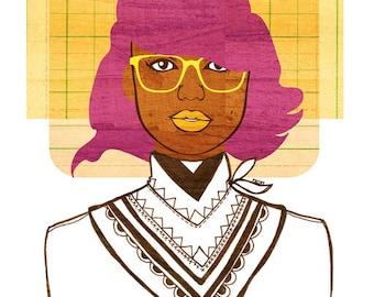 Yearbook Vivian Print, (African American Fashion Illustration, Free Spirit Hipster Girl Art )