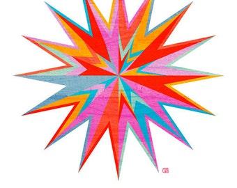 Starburst, Geometric Art Print,  5x7, 8x10, or 11x14