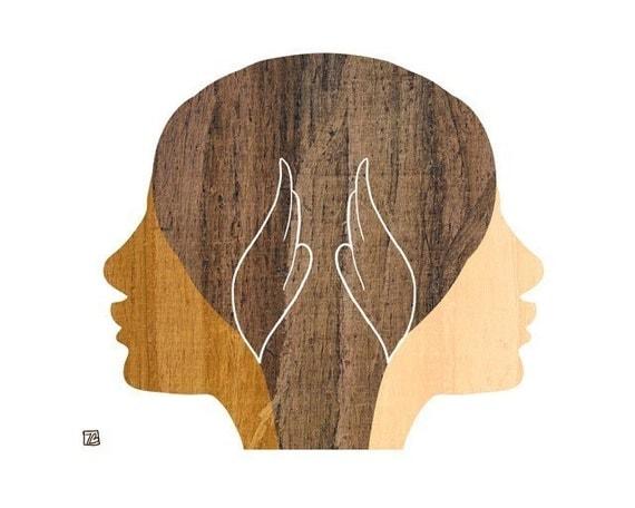 Summer Sisters, Wood Girls Silhouette Art Print