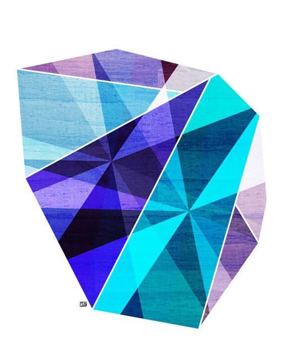 Aquamarine, Blue Geometric Art (Facet Rock Abstract Print ) 5x7 , 8x10, 11x14