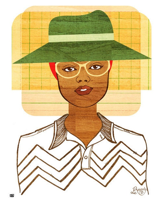 Yearbook Beverly Portrait, Art Print (Retro African American Women's Fashion School Illustration)