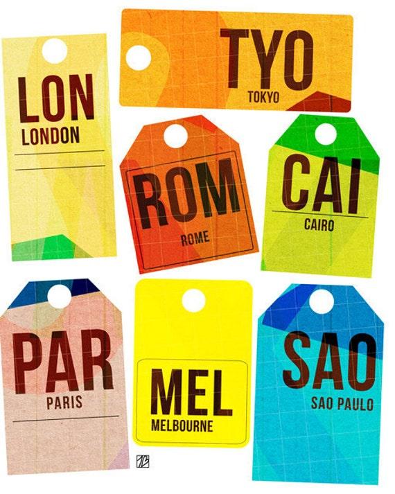 Destination Tag International,  Art Print (Retro Baggage Claim Travel Illustration)