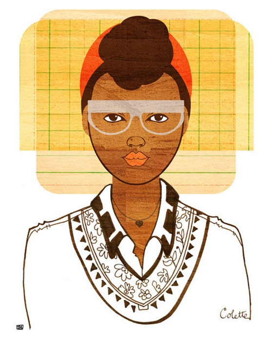 Yearbook Colette Portrait, Art Print (African American Illustration)