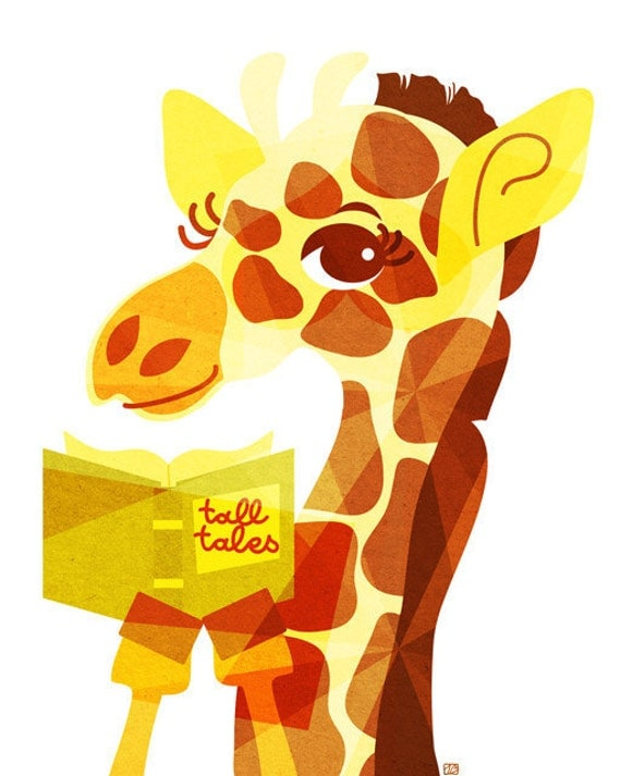 Tall Tales Giraffe Art (Children's Zoo Animal Illustration, Yellow Storybook Print) 5x7, 8x10, 11x14