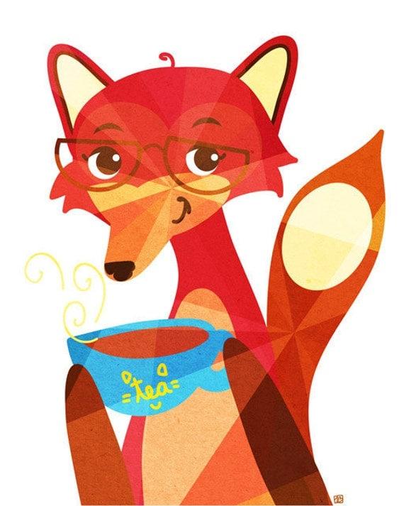 Fox Tea (Animal Portrait),  Art Print