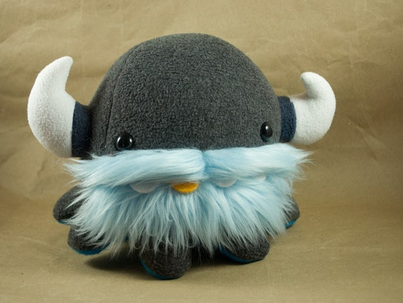 Baby Viking Octopus - Charcoal with Baby Blue over Cyan