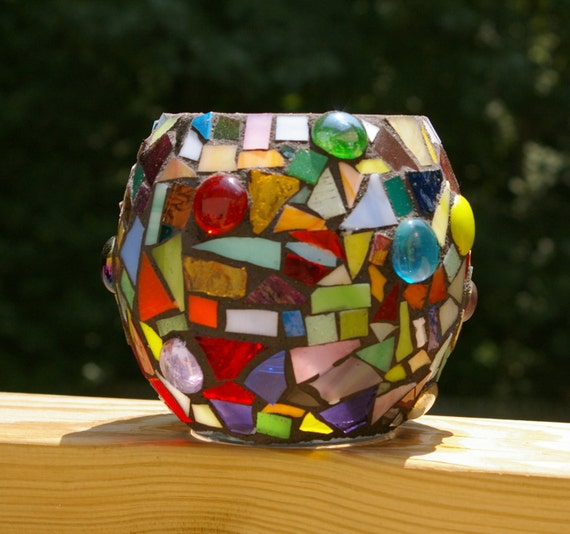 Candle Holder Large Stained Glass Mosaic by Red Crow Arts