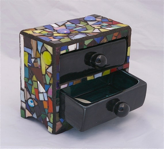 Jewelry Box Holder Mosaic Stained Glass by Red Crow Arts