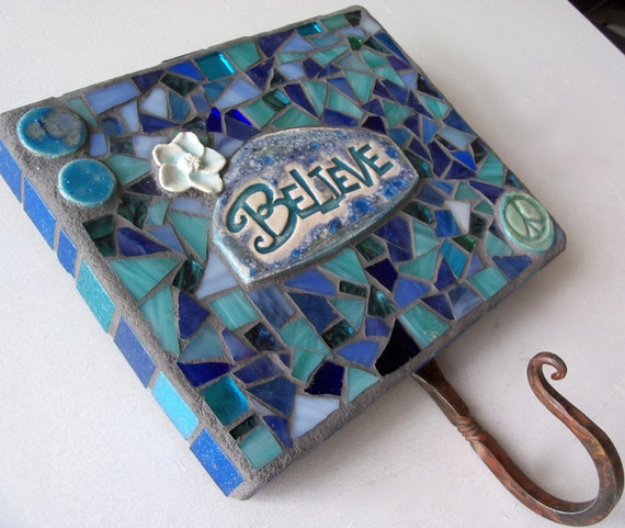 Believe Wall Hook Key Holder Leash Holder Mosaic by Red Crow Arts