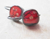 oxidized sterling silver small kimono earrings- red
