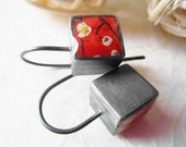 oxidized sterling  silver cube earrings-red