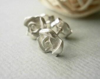 sterling silver little rose earrings-matte-post earrings-flower