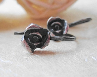 sterling silver little rose earrings-dangle-oxidized-flower earrings