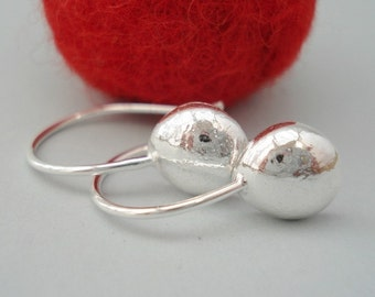 sterling silver drop earrings bright finish- dangle earrings-peeble