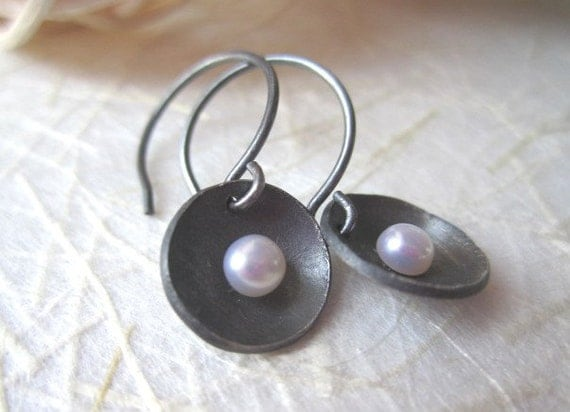oxidized sterling silver cup earrings- pearl