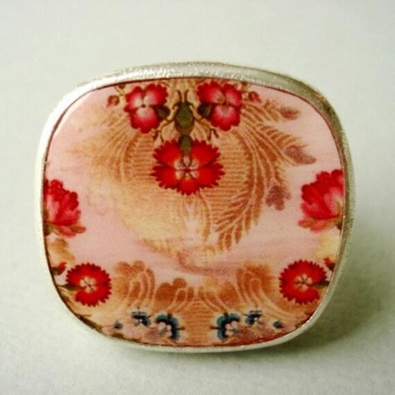 brocade tray ring-pink