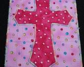 Polka Dot Cross-Quilted Fabric Art Postcard/Mini-Quilt-OOAK
