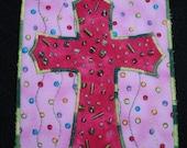 Interesting Green Beaded Cross-Quilted Fabric Art Postcard/Mini-Quilt-OOAK