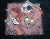 Two in Love-Mini Art Quilt Collectible OOAK