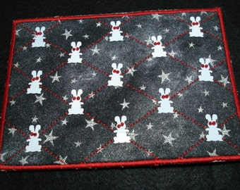 Stars at Night Zombie Bunnies -Quilted Postcard\/Mini-Quilt-OOAK