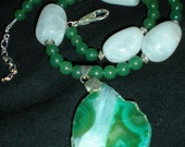 Chunky Green Agate, Green Aventurine & Quartz Gemstone Beaded Necklace W/Silver Accents