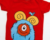 Kid's Monster T-Shirt - Red with Aqua Monster size 2T