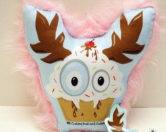 Cupcake Monster Pillow - Small Pink