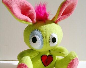 Rockin' Rabbit - Lime green plush bunny with hot pink mohawk