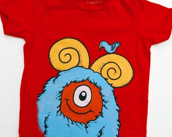 Kid's Monster T-Shirt - Red with Aqua Monster size 6T