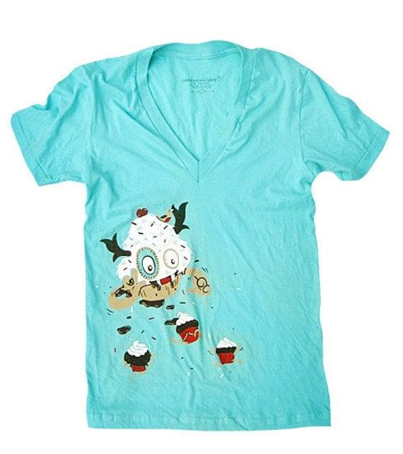 Cupcake Monster T-Shirt - XSmall V-neck
